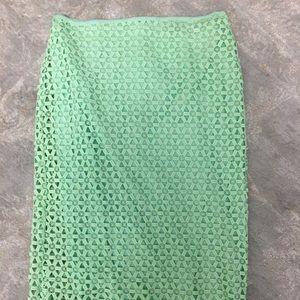 Zara Mint Green Eyelet Pencil Skirt